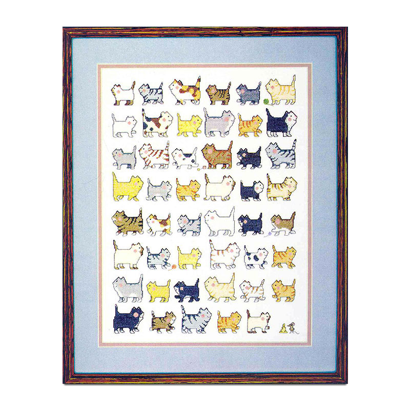 Fishxx Cross Stitch T351 Thirty-nine Dogs And T134 Forty-seven Cat Lined Up Pet Cartoon Pattern White Cloth Precision Printing