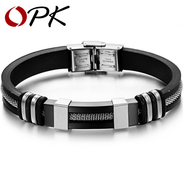 OPK JEWELRY SILICONE and STAINLESS STEEL BRACELET silicon wrisband silicone bangle 2 color free shipping  793