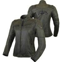 BENKIA Motorcycle Jacket Women Vintage Retro Motorbike Clothing Street Cruiser Chopper Cafe Racer Distressed Moto Jacket Armor