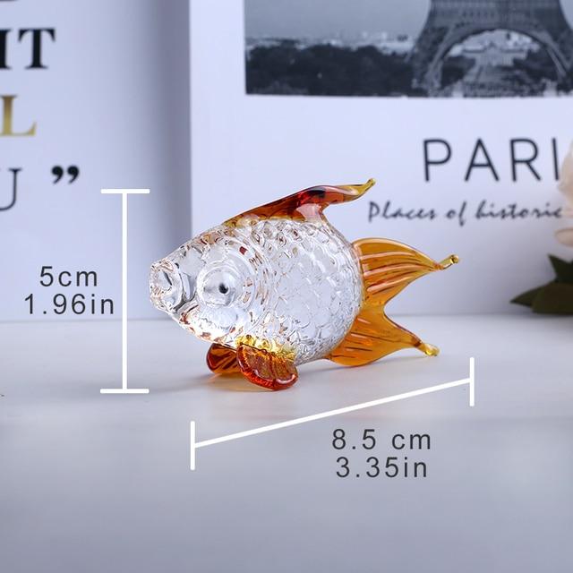 Handmade Crystal Goldfish Figurine Model Miniature Animal Crystal Crystal Glass Ornament Home Decor Gift Kids Room Decoration 6