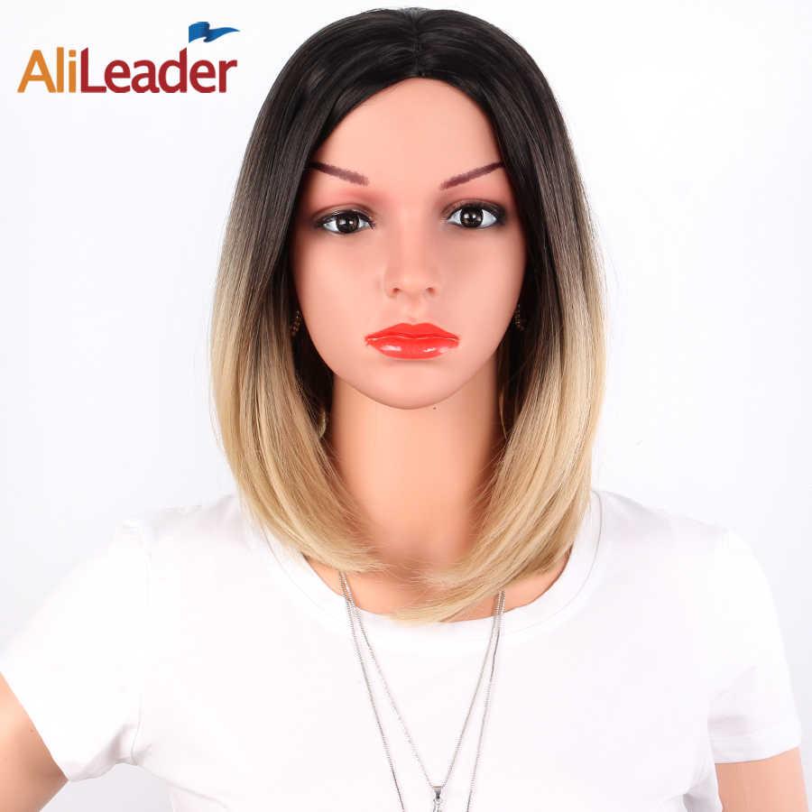 AliLeader prosta peruka z krótkim bobem dla kobiet 31 kolor różowy żółty czarny czerwony fioletowy Ombre realistyczna peruka syntetyczna Cosplay peruki Bangs
