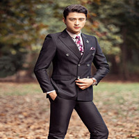 2017 New Arrival Stock Double Breasted Men Suits For Wedding Groom Tuxedos Two Piece Mens Suits Slim Fit Groomsmen Suit