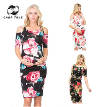 Flat Shoulder Strap Maternity Clothing China Style Casual Floral Pregnants Dress Maternity Dresses Photography Dress Classic smdppwdbb maternity dress maternity photography props long sleeve maternity gown dress mermaid style baby shower dress plus size