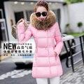 Gentlewomen invierno wadded la chaqueta femenina medio-largo delgado del faux cuello de piel por la chaqueta de algodón acolchado