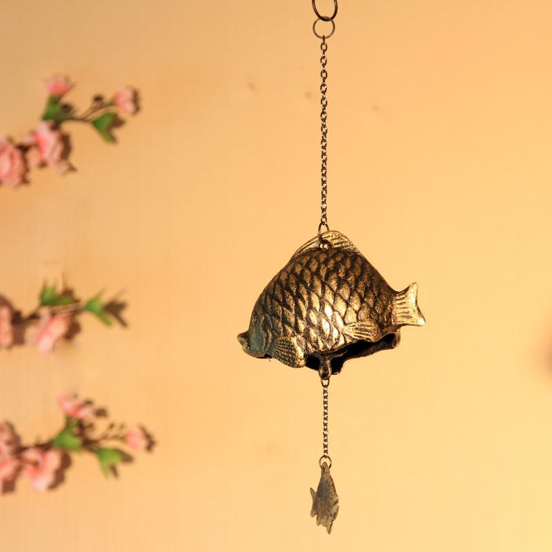 Antique Imitated Japanese Style Door Metal Wind Bell Iron Casting Rich Fish Wind Chime Retro Home Decoration