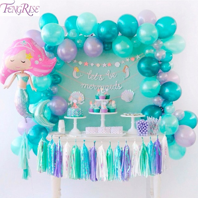 Fengrise Unicorn Mermaid Party Decorations Mermaid Balloon Decor