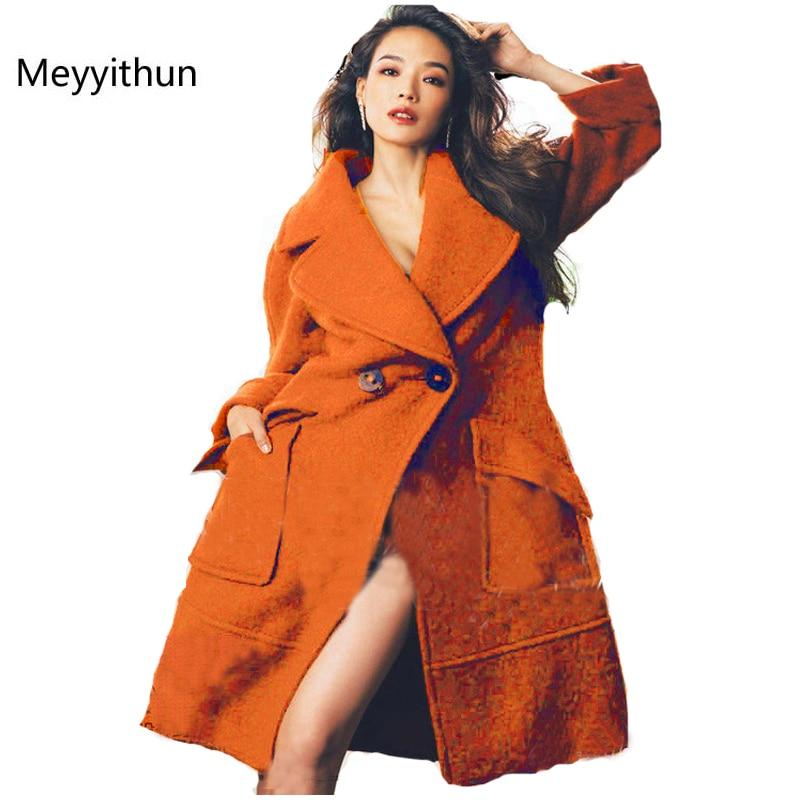 Winter New Orange Long Sleeve Warm Wool Coat Women s Coat BU