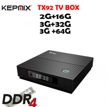 5PCS/LOT TX92 TV Box Amlogic S912 Octa-core 3G+64G android tv box 7.1 OS BT4.1 1000M LAN 64Bit 4K 2.4G/5G Wifi 17.3