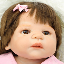 Collectible 23 Inch Silicone Reborn Dolls Girl Full Soft Vinyl Newborn Babies With Pink Dress Children Birthday Xmas Gift