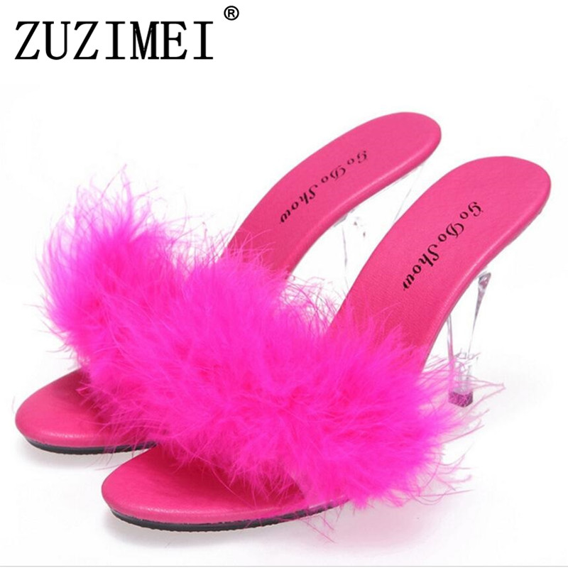 Sexy Summer Fashion High Heels Sandals Slippers Mules Transparent Crystal Platform Wedges Shoes 10 CM Jelly Sandals