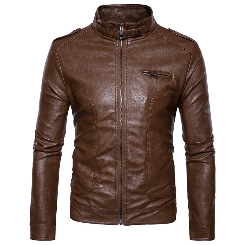 Mens Motorcycle Jacket Blouson Cuir Homme 2018 Casual Stand Collar Mens Autumn Winter Leather Jacket Pocket Zipper Jackets 2XL