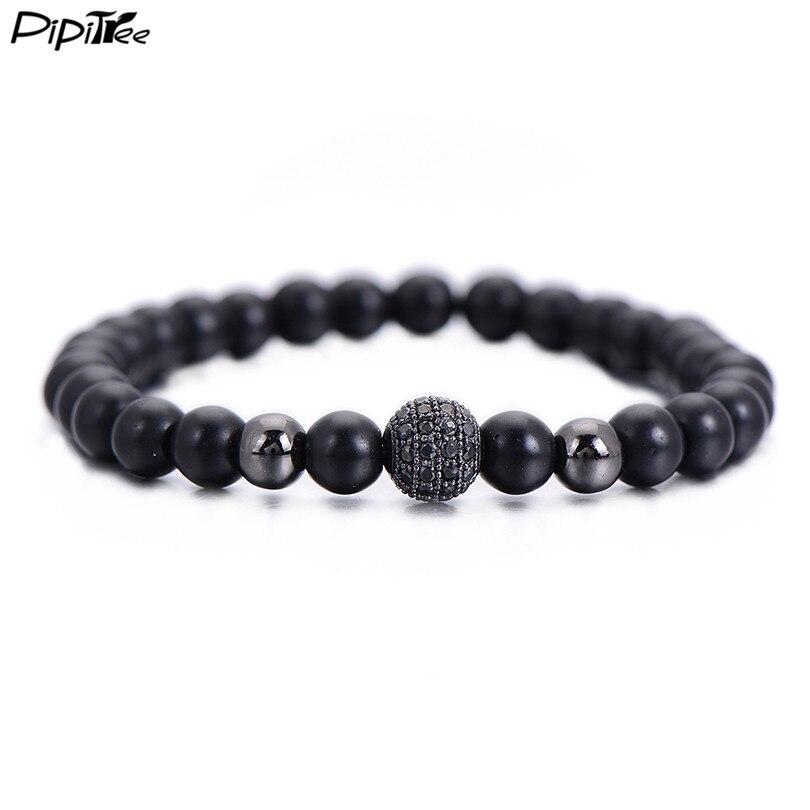 Pipitree Brand Fashion Black CZ Ball Men Bracelet Natural Stone Matte Beads Charm Bracelets Men Jewelry Yoga pulsera hombres      - AliExpress