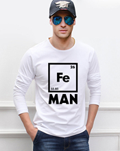 Chemistry Science men's long sleeve T-shirts Iron Fe Periodic Table print 2016 new autumn 100% cotton hip hop slim fit top tees