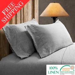 FreeShipping 100% Pure Linen Sheet Set Soft White Gray 4pcs Include Flat Sheet Fitted Sheet Pillowcase Twin Queen Full King Size