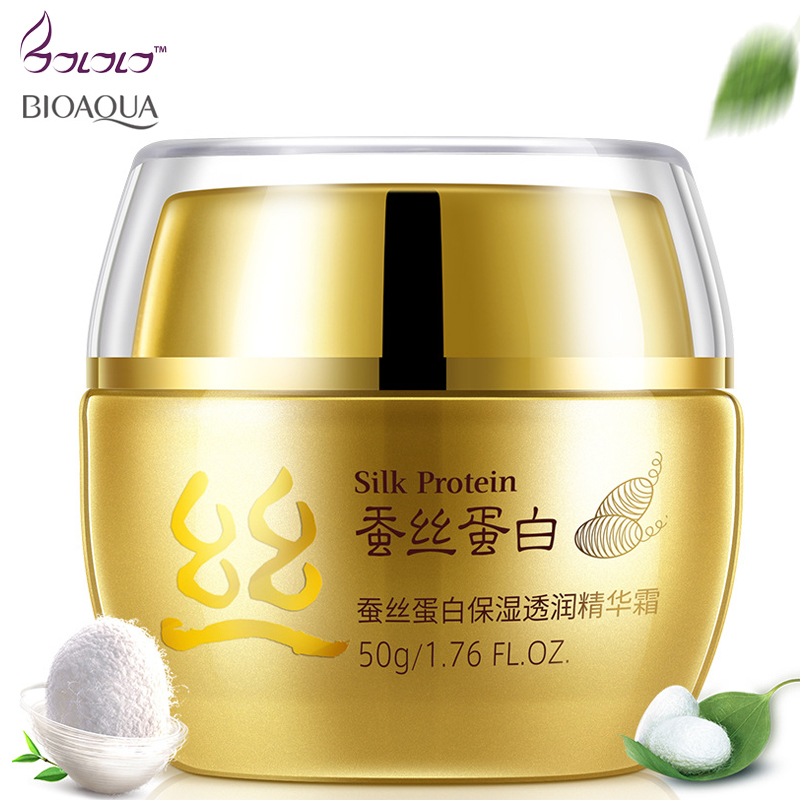 BIOAQUA Brand Day Cream Korean Cosmetic Deep Moisturizing Face Cream Silk Protein Anti Wrinkle whitening Lift Esseence Skin Care 60g brand bioaqua silk protein deep moisturizing face cream shrink pores skin care anti wrinkle cream face care whitening cream page 7