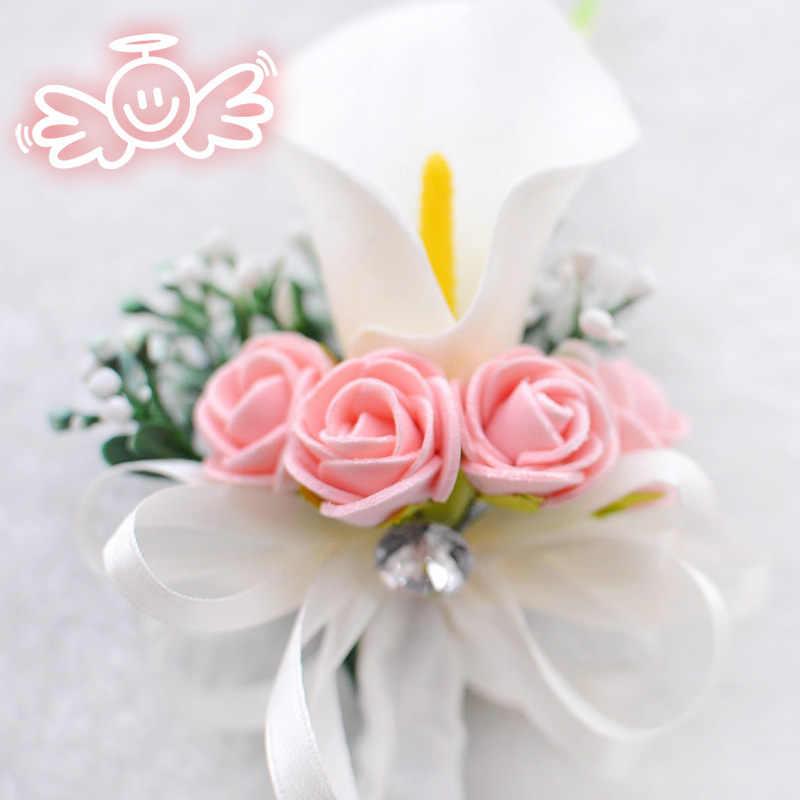 ヨーヨー町 Boutonnieres バラための手首の花花嫁白ピンク手首コサージュブレスレットオランダカイウユリブートニア新郎結婚式のコサージュ