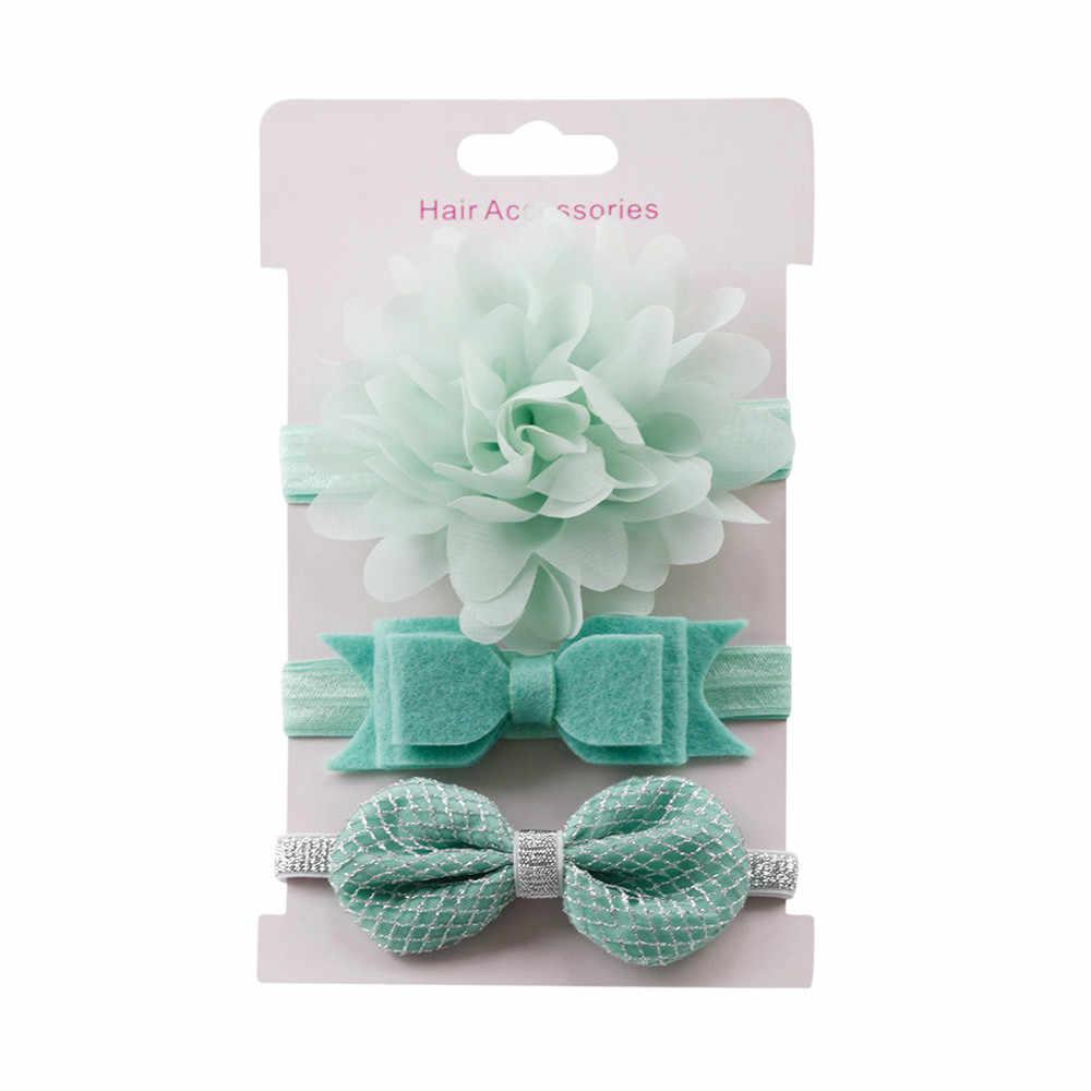 HOOLER 3 sztuk dziecko pałąk kwiatowe kokardki Hairdband Baby Girl opaski akcesoria do włosów noworodka zespół Turban dziewczyny Hairband