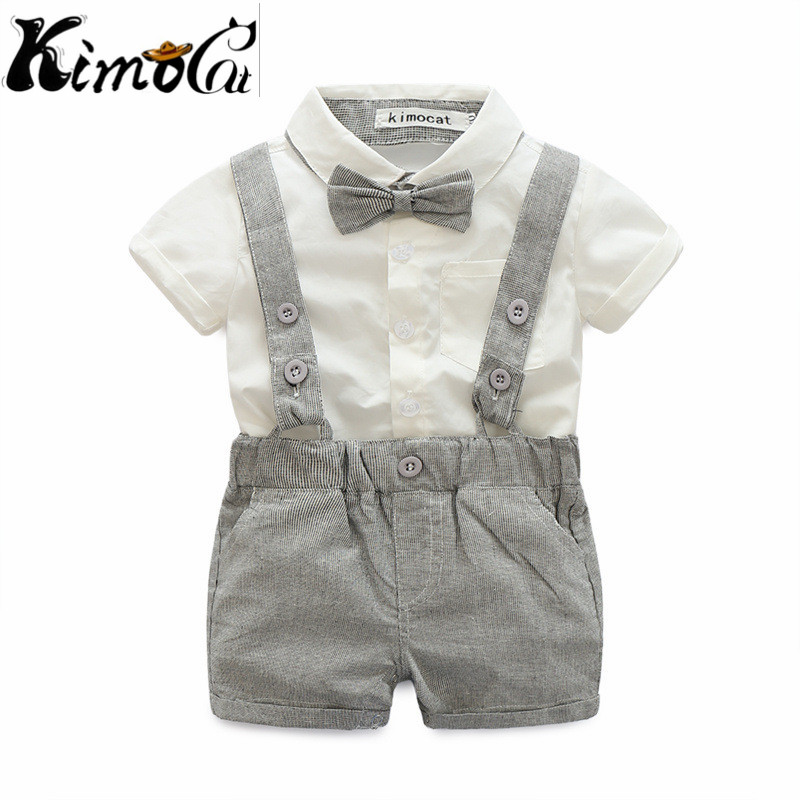 Kimocat baby boy High quality summer short-sleeved cotton gentleman cravat suspender sets 2pcs(Shirt + suspenders)