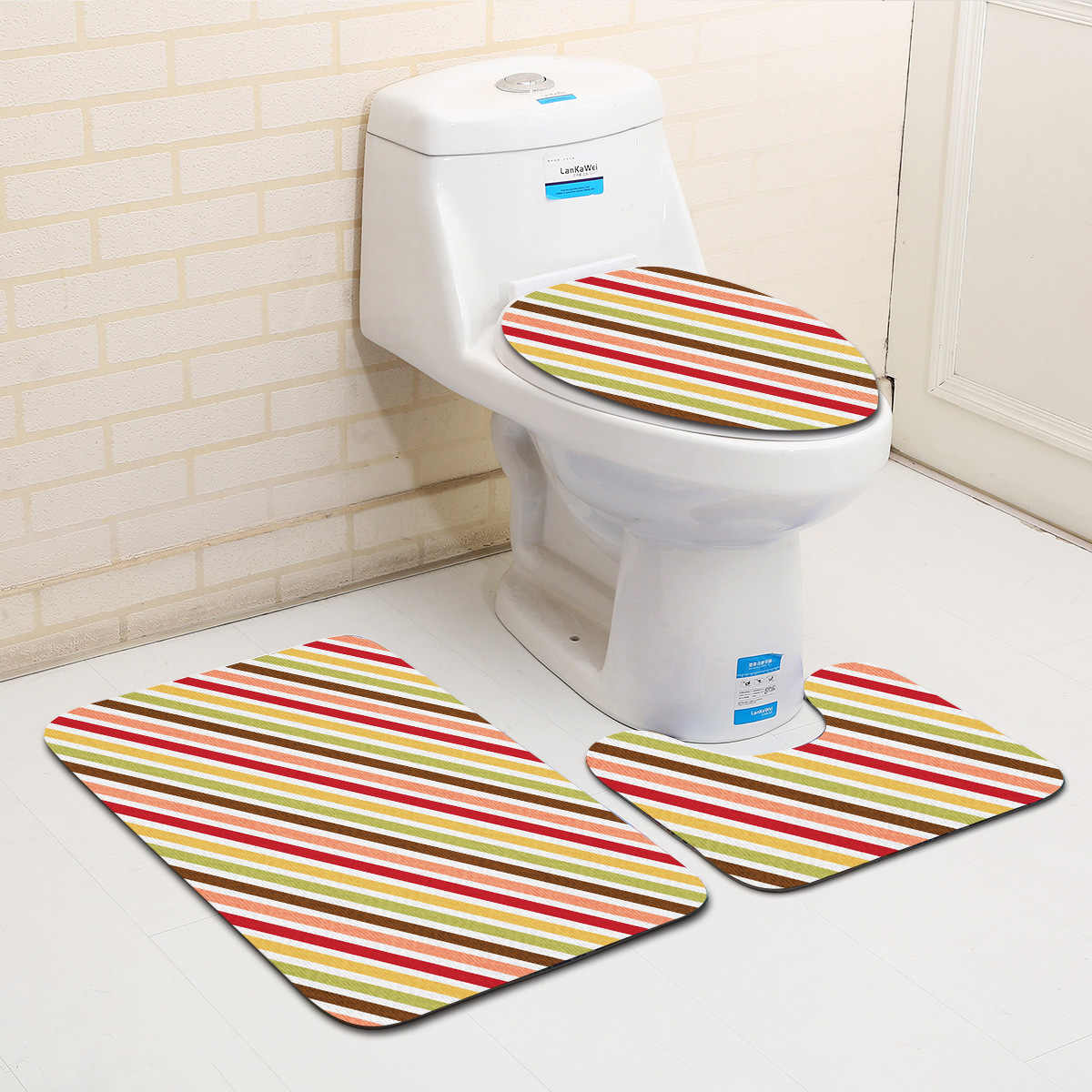 Brilliant Zeegle Shading 3Pcs Bathroom Carpet Set Toilet Lid Cover Non Slip Bathroom Floor Mats Washroom Rugs Toilet Bath Mat Set Bath Rug Gmtry Best Dining Table And Chair Ideas Images Gmtryco
