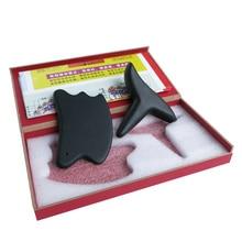Black Bian Stone  (new type guasha massager+square beauty face gua sha plate) gift guasha chart hard box package 2pcs/set marvis black box gift set