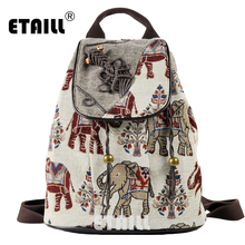 цена на ETAILL Elephant Embroidered India Thai Style Drawstring Backpack Travel Leisure Laptop Ethnic Style Female Canvas Backpacks
