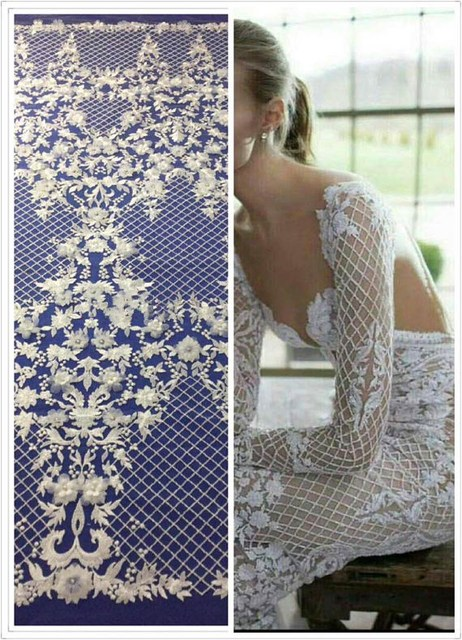 5yards Vintage 3D flower lace fabric tulle wedding dress fabric beaded lace fabric bridal dress fabric alencon lace french lace