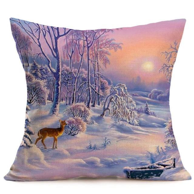 Buon Natale Federe In Cotone E Lino Stampato Cuscini Decorativi Per Divano Car Seat Cuscino Della Copertura Gettare Pillow Case Home decor