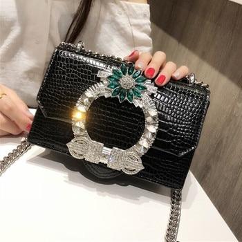 2019 Fashion Women Handbags PU Leather Diamonds Chains Hand Bag Flap Shoulder Messenger Crossbody Cow Leather White Bags