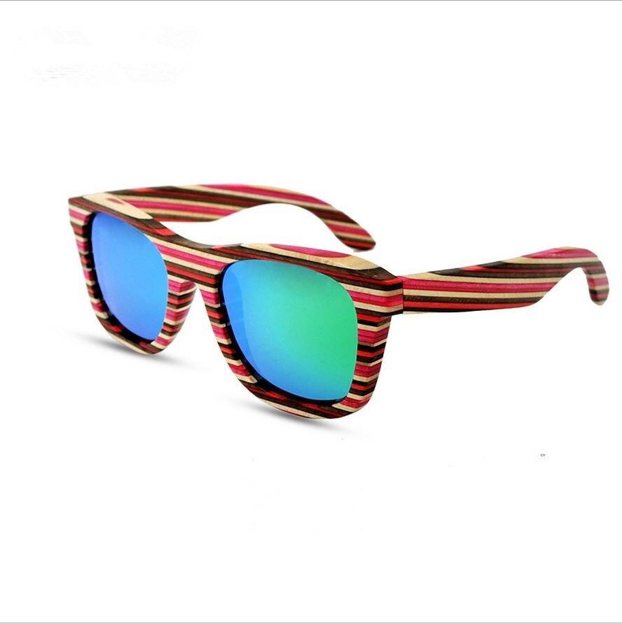 Neueste Handgemachte Farbigen streifen holzrahmen Sonnenbrille ...