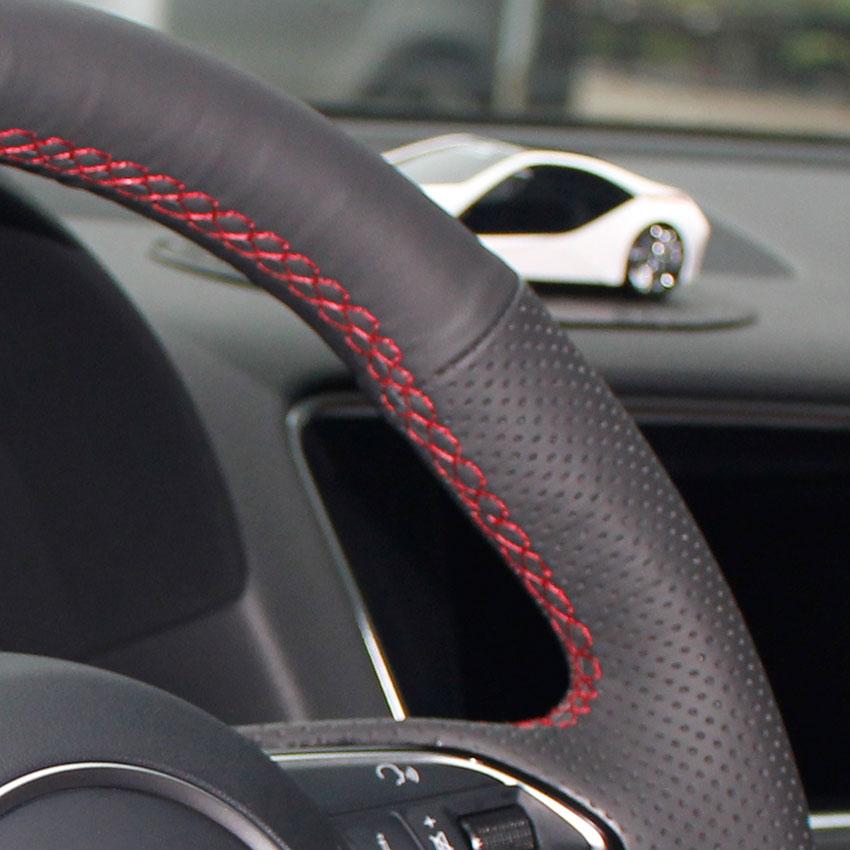Yuji-Hong Чехлы рулевого колеса автомобиля чехол для VOLVO S80 S80L XC60 2010-2013 натуральная кожа Авто покрытие ручной работы автомобиля-Стайлинг - Название цвета: Red Thread Holes