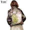 2016 реверсивный дракон Тигр Вышивка бомбардировщик куртка женщин Осень этническая длинным рукавом молнии основные пальто женщин jaqueta feminina