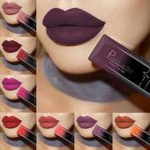 PUDAIER Водонепроницаемый телесного цвета матовые бархатные глянцевый блеск для губ помада бальзам для губ сексуальные красные губы оттенок 21 Цвета Для женщин мода макияж подарок