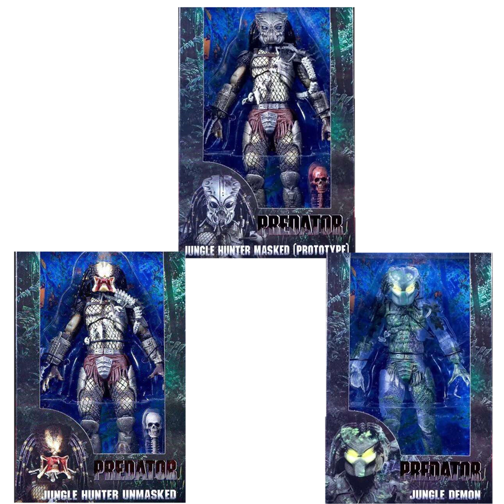 Predator Figure 30th Anniversary Jungle Hunter Masked (Prototype) Jungle Demon Jungle Hunter Unmasked PVC Action Figures predator