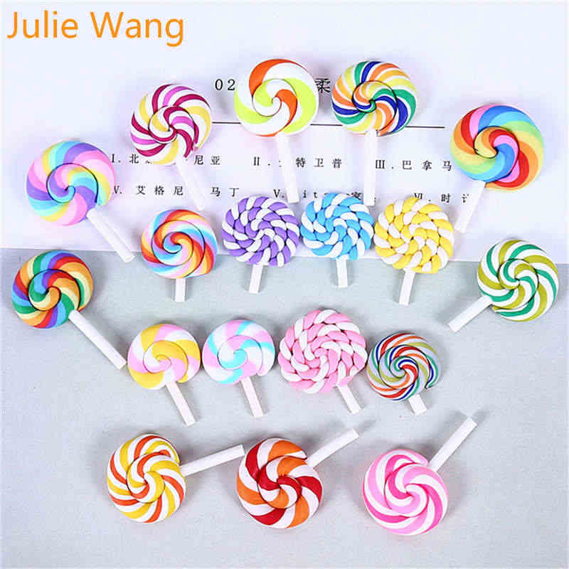 Julie Wang 10PCS Polymer Clay Lollipop Candy Colorful Slime Resin Charms Pendants Phone Decor Findings Jewelry Making Accessory