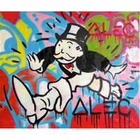Fatto a mano su tela pop art Alec Graffiti art fare un sogno pittura soldi su tela di canapa della parete urbano immagini per living room street art