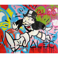 Handmade canvas pop art Alec Graffiti art make a dream painting money on canvas wall urban pictures for living room street art