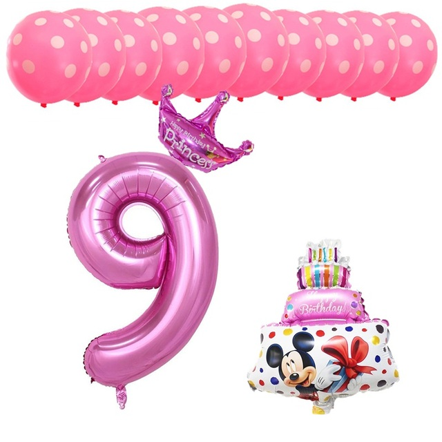 BINGTIAN 13pcs Happy Birthday Party Decoration Balloon Girl Boy 9th Number Aluminum Foil Latex