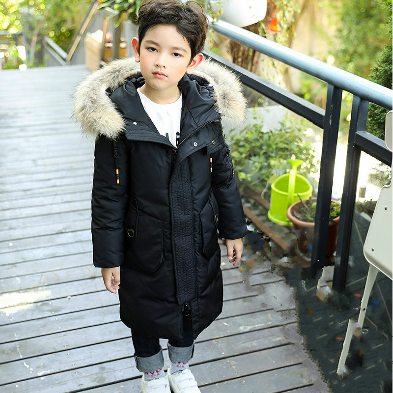 2018 Teenage Boy Children Winter Warm Coat Boy's Down Jacket Long Thick Winter Jacket Children's Warm Coat Raccoon Fur boy winter long warm down jacket boy simple fashion warm down jacket boy big fur collar thick coat boy solid color coat