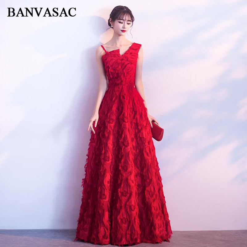 BANVASAC 2018 One Shoulder Feathers A Line Long Evening Dresses Vintage Lace Sleeveless Party Prom Gowns