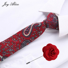 Party Wedding Classic men Tie Green Brown red  Paisley cotton Woven Men Necktie&pin set suit accessories gift for