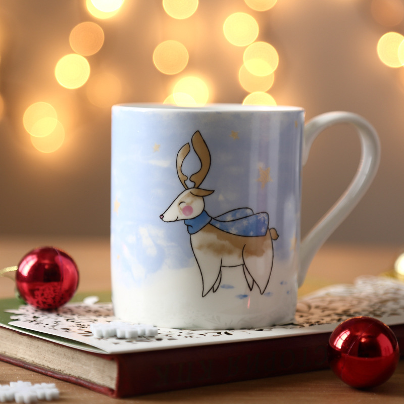 1Pc 350ml Fine Bone China Mug <font><b>Ceramic</b></font> <font><b>Cup</b></font> fpr Tea Milk <font><b>Coffee</b></font> Porcelain <font><b>Coffee</b></font> Tea Mugs Deer <font><b>Rabbit</b></font> Pattern Gifts for <font><b>Couples</b></font>