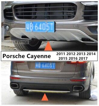 Samochód osłonka na zderzak płyta dla Porsche Cayenne 2011-2017 przód + tył chronić panel wysokiej jakości ze stali nierdzewnej akcesoria samochodowe