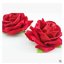 Trendy Headpiece High end velvet red roses Hair Clip Flower Hairpin DIY Headdress Bridal Hair Accessories