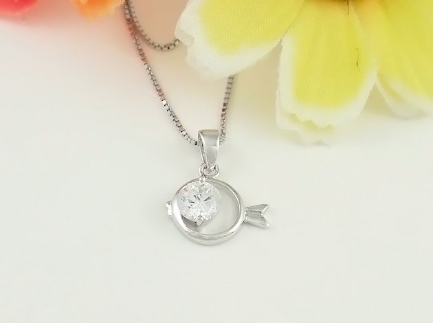3PCS/LOT, Free shipping, wholesale- New Arrival Fashionable fish silver women's  pendants with Special cutting zircon pendants