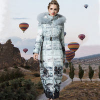 Printed Winter Parkas Coat Women Plus Size X Long Outwear Warm Fashion Jacket with Belt SS6413