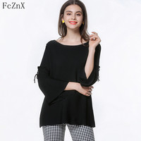 2018 Women's Clothing Jumper Sweater Knitted Pullovers Summer Loose Full Flare Sleeve O Neck Solid Color Lace Up Female Clothes