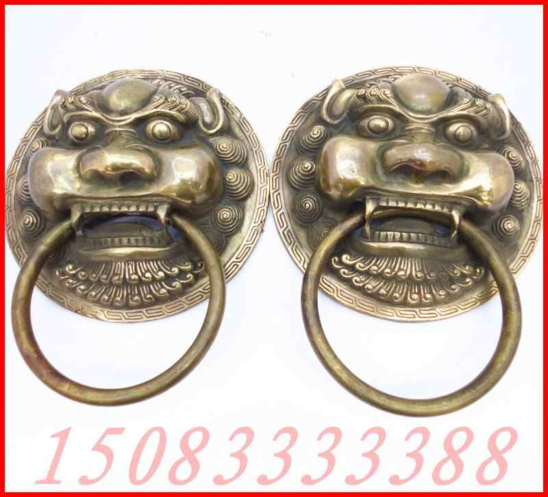 WBYรูปปั้นบรอนซ์ทองแดงเคาะงานฝีมือคู่ของสิงโตเคาะดึงแหวนแหวนมือชั่วร้าย