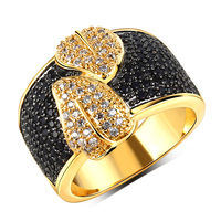 18K Glod Plating Black White CZ Crystal Ring For Women Leaf Design Setting 116pcs Big Engagement