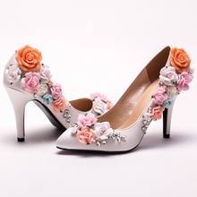 Custom Made White Satin Flower High Heel Lady shoes Elegant Bridal Wedding Shoes Pointed Toe Women Bridesmaid Shoes