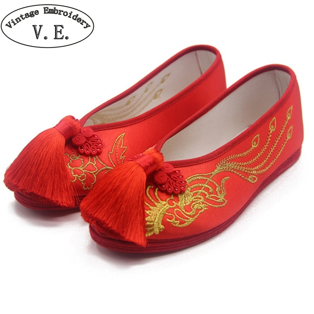 National Women Flats Bride Red Shoes Chinese Wedding Satin Embroidered  Tassel Breathable Dance Single Ballet Shoes Woman 12d9c3bb3e27